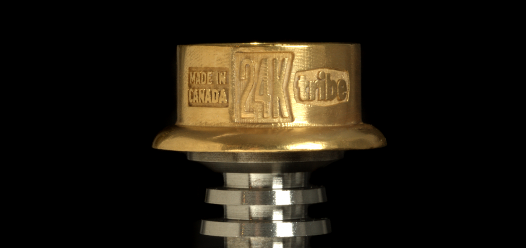 tribe 24k gold dabbing nail on stem side view close up