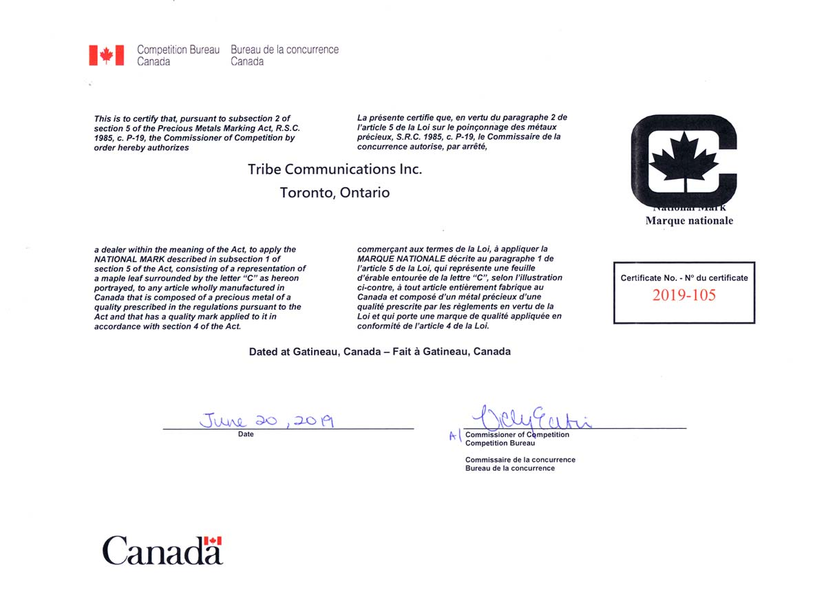 tribe national precious metals mark certification
