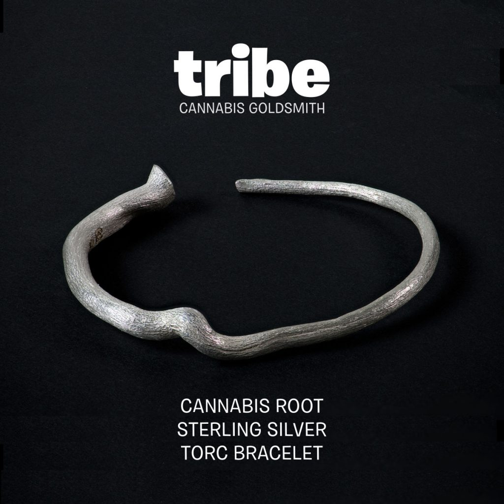 cannabis root torc bracelet sterling silver