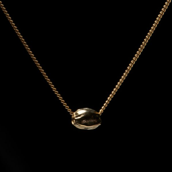 10K GOLD CANNABIS SEED SLIDER AND CHAIN