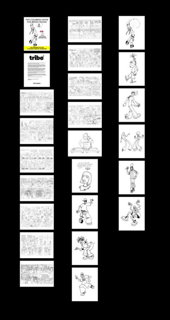 the coloring book for bored ravers thumbnail pages